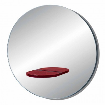Espelho redondo de parede com prateleira de vidro colorido Made in Italy - Eliza