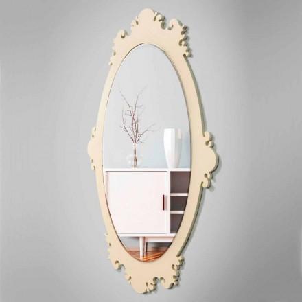 Espelho de parede vintage em madeira marrom com moldura - Giangio