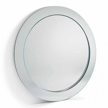 Espelho redondo redondo moderno com moldura inclinada fabricado na Itália - Salamina