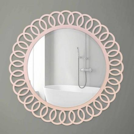 Espelho de parede grande de design decorativo e moderno em madeira rosa - coroa