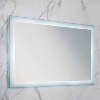 Espelho contemporâneo com bordas de vidro acetinado, iluminação LED, Ady