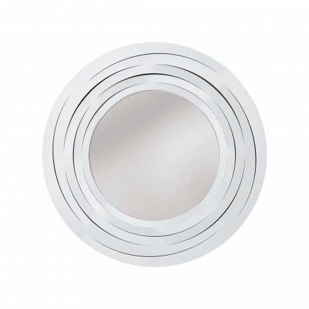 Espelho de parede circular moderno em ferro colorido fabricado na Itália - orégano