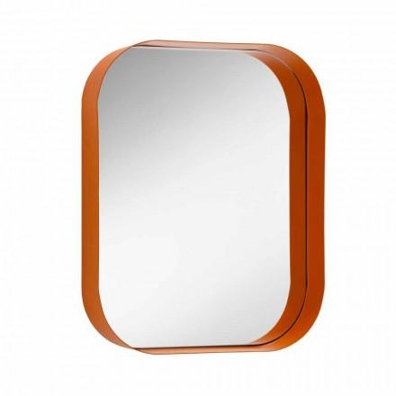 Espelho retangular arredondado, estrutura de metal Made in Italy - Alexandra