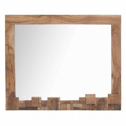 Espelho retangular moderno com moldura de madeira de acácia - Eloise
