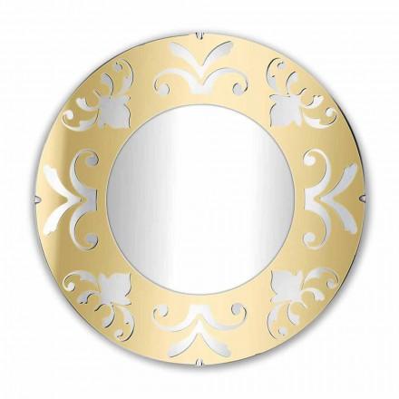 Espelho Design Redondo em Prata Dourada ou Plexiglass Bronze com Moldura - Foscolo