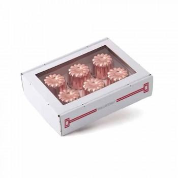 6 peças de cobre estanhado moldes para bolo de cobre estanhado à mão - Gianvito