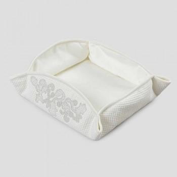 Bandeja de bolso Passepartout Branco Natural com Cristais, Pérolas ou Rendas - Sasseo