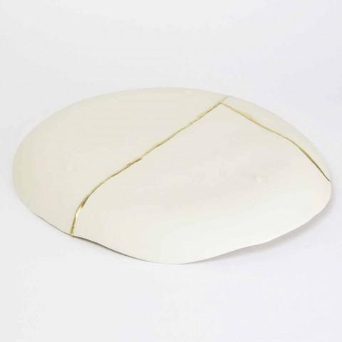 Bandeja de Bolso Redonda Design em Porcelana Branca e Folha de Ouro - Cicatroro