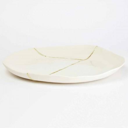 Bandeja de manobrista redonda em porcelana branca e design folha de ouro - Cicatroro