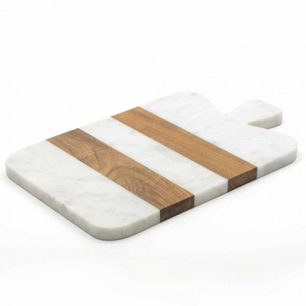 Mármore Carrara branco e madeira Made in Italy Design Cutting Board - Evea