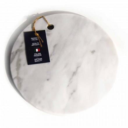 Tábua de corte redonda de mármore branco Carrara Made in Italy - Masha