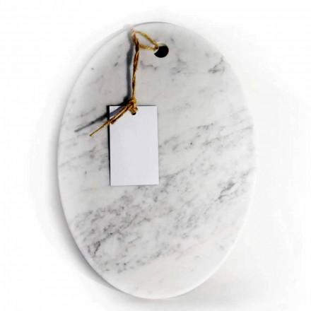 Tábua de corte oval moderna em mármore branco Carrara Made in Italy - Masha