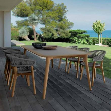 Mesa de jantar de teca ao ar livre Moon by Talenti, design moderno made in Italy