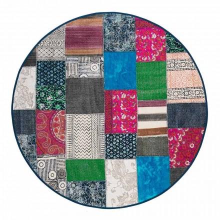 Tapete étnico redondo em tecido de algodão colorido - fibra