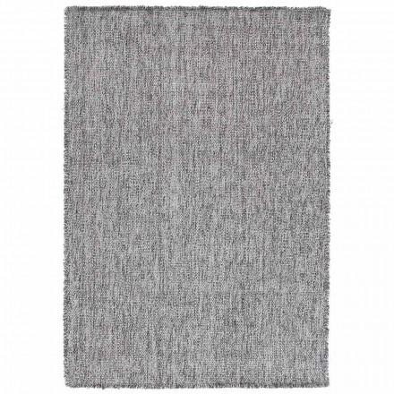 Tapete de franjas grandes de design moderno em lã preta ou creme - Jacqueline