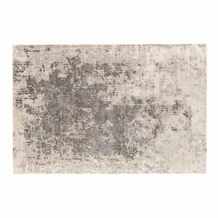 Tapete retangular de luxo para sala de estar em lã, algodão e viscose, feito na Itália
