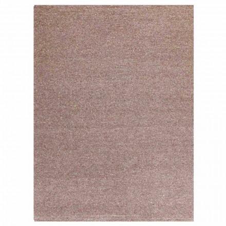 Tapete retangular de design moderno em seda e marrom ou algodão creme - Kuta