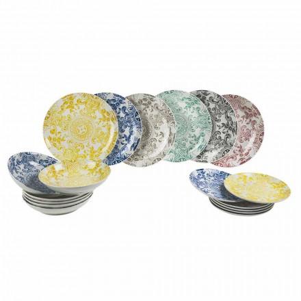 Serviço de mesa assada colorida de porcelana 18 peças - pizzotto