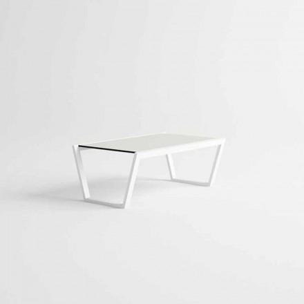 Mesa de centro baixa de jardim de design em alumínio branco - Louisiana3