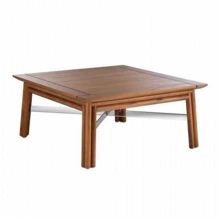 Mesa de centro baixa quadrada ao ar livre em madeira natural ou design preto - Suzana