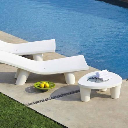 Mesa de centro baixa de jardim em polietileno e vidro Slide Low Lita Table