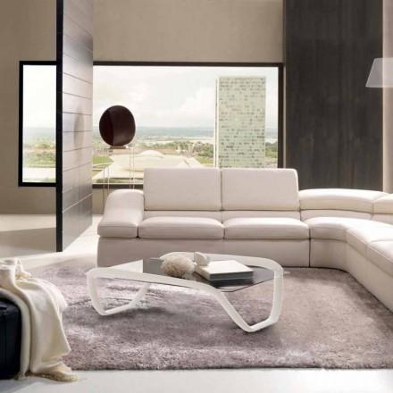 Mesa de café branca de vidro e contínuo de superfície sólida