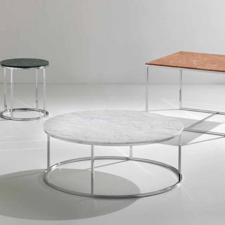 Mesa de centro feita de mármore branco de Carrara, design moderno, Zeus