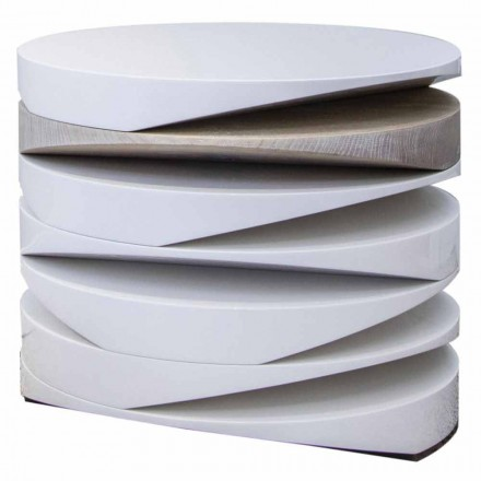 Mesa de Centro em Mármore Branco com Encaixe de Travertino Fabricado na Itália - Vita