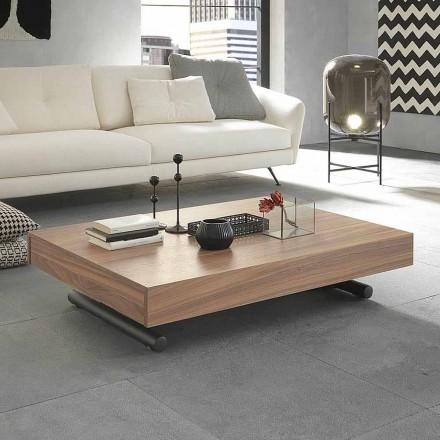 Mesa de centro de transformação moderna em madeira e metal feita na Itália - Fabio