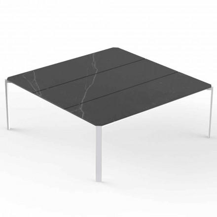 Mesa de centro quadrada de jardim, tampo com efeito de mármore - Tablet by Vondom