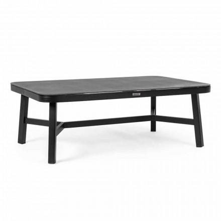 Mesa de exterior em alumínio preto com Homemotion - Morena Glass Top