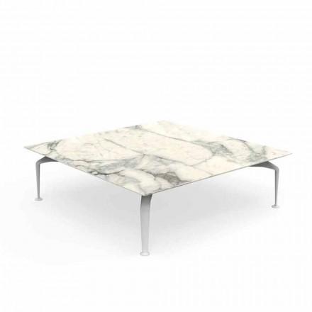Mesa de centro ao ar livre de Calacatta Stoneware Square - Cruise Alu by Talenti