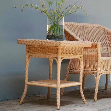 Mesa de café ao ar livre Chade 56x56 cm, tecelagem artesanal, design moderno