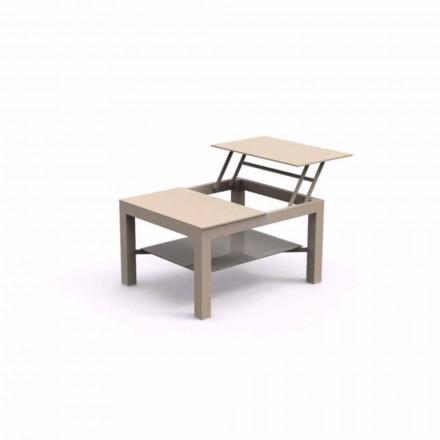 Mesa lateral de jardim que pode ser aberta, tampo de vidro serigrafado Chic Small