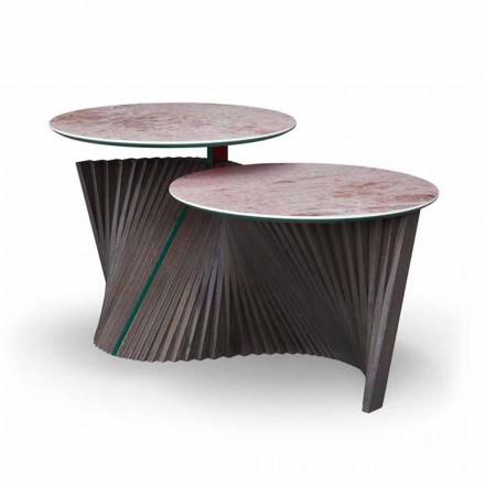 Mesa de centro de luxo com 2 tampos redondos em Gres Made in Italy - Estocolmo