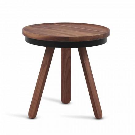 Mesa de centro de design com tampo redondo e pernas de madeira maciça - Salerno