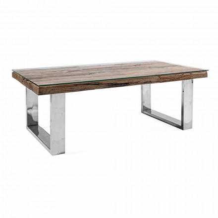 Mesa de Centro Design em Madeira, Vidro e Aço Homemotion - Frederic