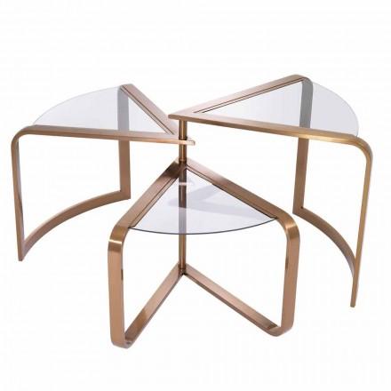 Mesa de centro de design em vidro com detalhes de acabamento de cobre - Carpi