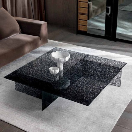 Mesa de centro de design extraleve, vidro decorado, fabricado na Itália - Sestola