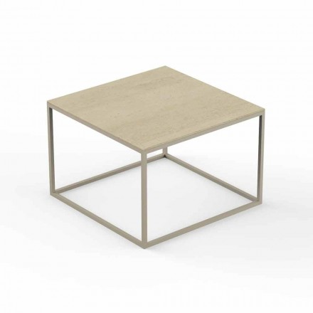 Mesa de centro de design de jardim, tampo quadrado com efeito de mármore - Suave by Vondom