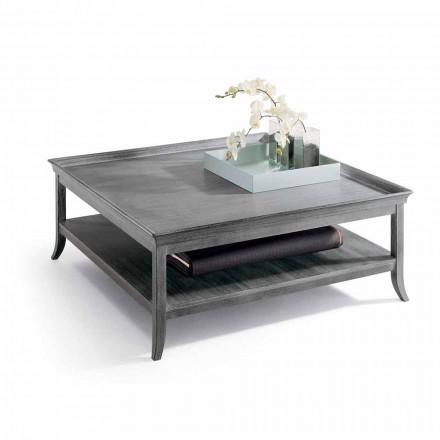Mesa de centro de design clássico, Berit, madeira lacada a prata