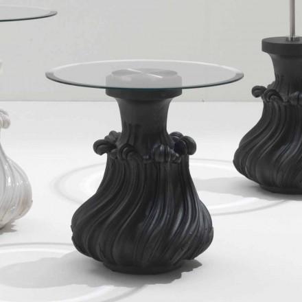 Mesa de café em madeira maciça e cristal de 60cm de diâmetro, Margo