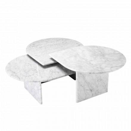Mesa de Centro em Mármore Carrara Branco Formato de 3 Peças - Marsala