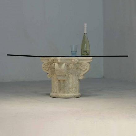 Mesa de café clássica feita de pedra natural Vicenza e cristal Balos