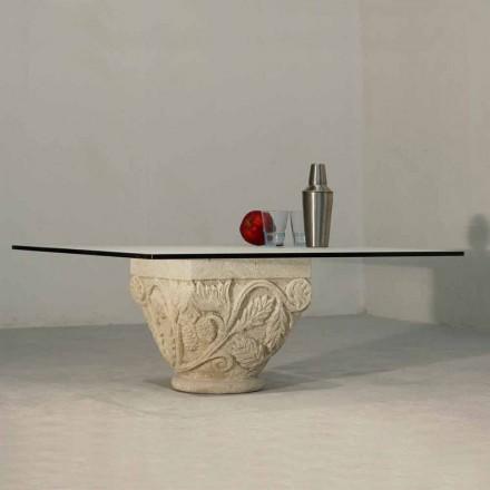 Mesa de café clássica de cristal e pedra natural Vicenza Mytros