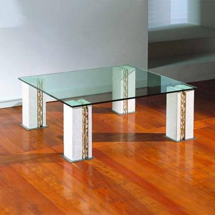 Vicenza pedra natural e mesa de café de cristal Milos, made in Italy