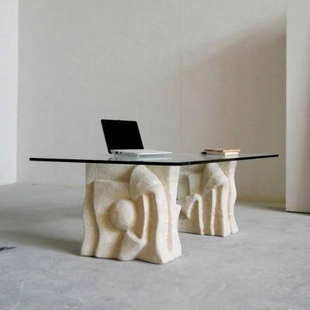 Mesa de centro clássica de pedra natural Vicenza com tampo de cristal Priamo-S