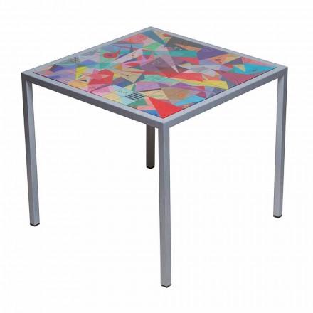 Modern mesa de café 50x50cm em metal Nina, fabricada na Itália