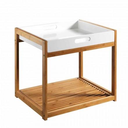Mesa de centro moderna de madeira de bambu com bandeja de Mdf branca - Volly