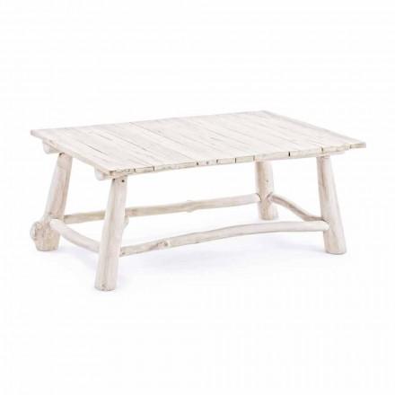 Homemotion Mesa de centro moderna em galhos de teca branqueada - Bambo